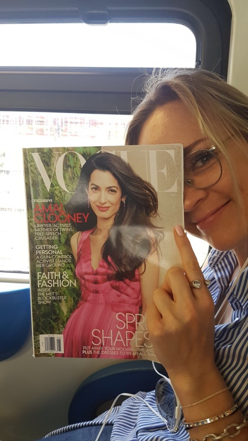 Amal Clooney in Vogue- love her!! This Vogue I got from Camilla in NY, I finished reading it and left it in the train where a lady picked it up- best way to do it :)!